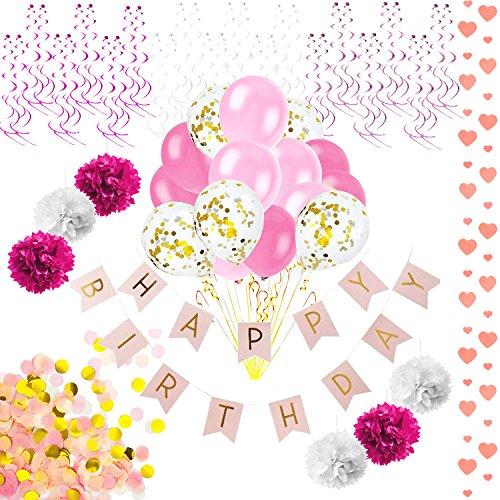 Oblique Unique Happy Birthday Set de decoración para Fiestas de cumpleaños – Happy Birthday Guirnalda de Confeti Globos, Pompones Colgantes, espirales, corazón, Guirnalda, Rosa, Oro, Blanco