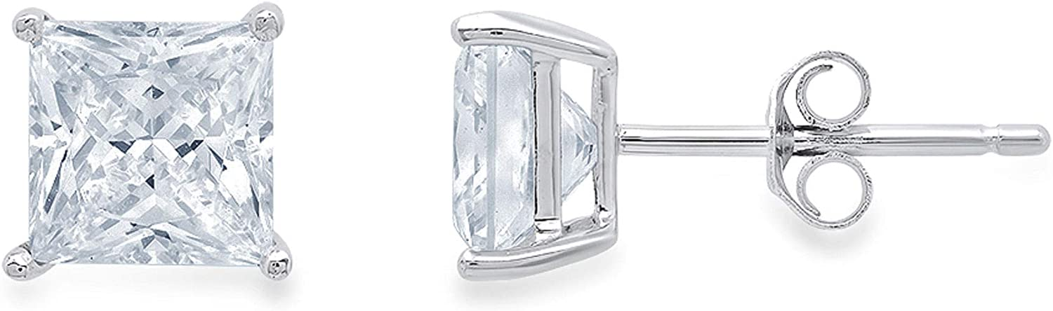 1.1ct Brilliant Princess Cut Solitaire Designer Genuine Natural Sky Blue Aquamarine Gemstone Flawless pair of Stud Earrings Solid 14k White Gold Butterfly Push Back
