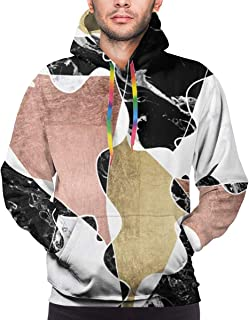 Black White Marble Rose Gold Color Block Geometric Pullovers Hoodie Long Sleeve Hooded Athletic Hoodies Sweatshirts