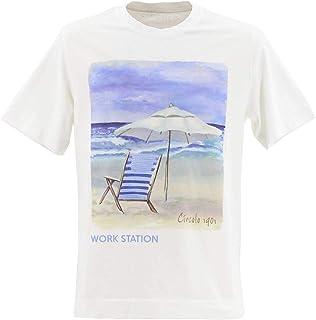 [CIRCOLO1901 チルコロ1901] メンズ コットン クルーネック 半袖 プリントTシャツ 0104-267850(ホワイト)