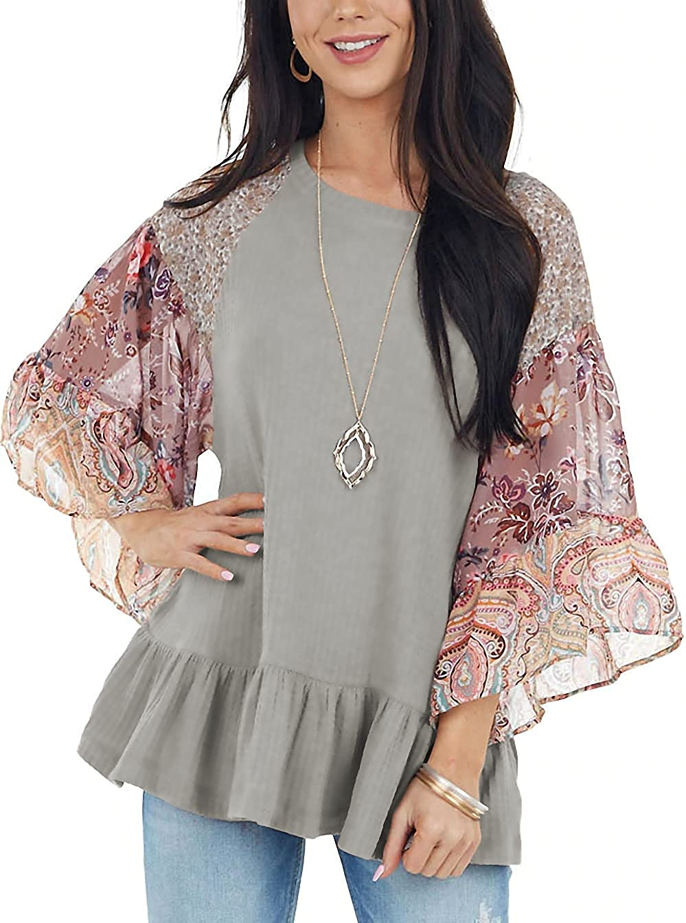 Allimy Womens Multi Floral Ruffle 3/4 Sleeves Blouses Loose Rounded Neckline Tops Shirts