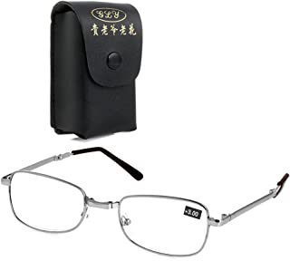 fe64eb2965b9 Wivily Reading Glasses Fashion Folding Readers with Leather Cases for Men  and Women - Silver (