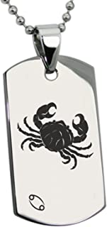 Stainless Steel Cancer Astrology Zodiac Sign Dog Tag Pendant Necklace