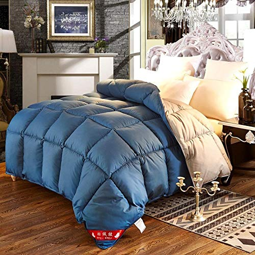CHOU DAN Small down quilt goose down quilt available for clearance 95 white goose down anti-bacterial dormitory air conditioning quilt-2.2X2.4 4000g_I89-Blue+Gray