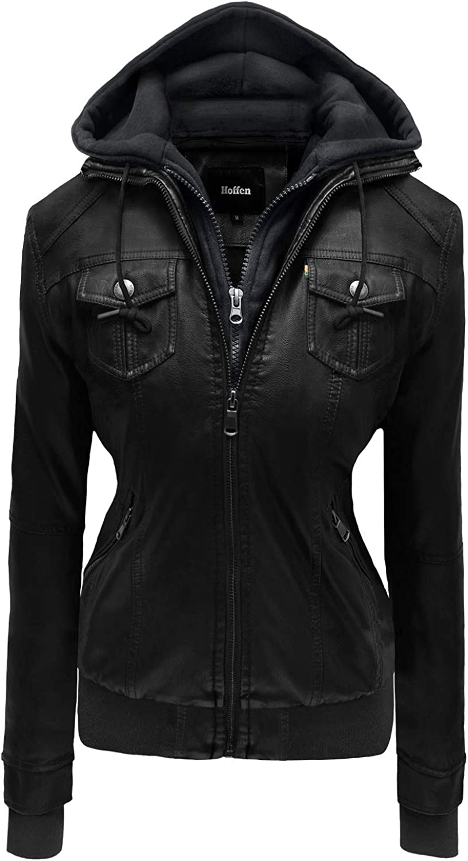 Hoffen Store Vegan Leather Jacket Women with Detachable Hood  Kalt Model