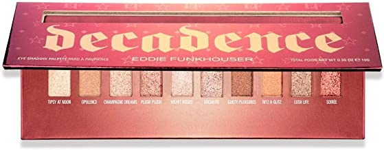 EDDIE FUNKHOUSER Decadence Professional Eyeshadow Palette - 10 Glitter and Shimmer Metallic Shades, Highly Pigmented, Blendable Cream Formula Makeup