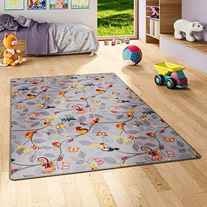 Snapstyle Kinder Spiel Teppich Velours Urwaldtiere Grau in 24 Gren