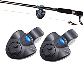 Electronic Fishing Bait Alarm with Sound LED Lights Indicator Fish Bite Alarms for Fishing Pole Rods Line (Pack of 2)