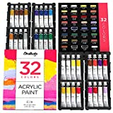 Chalkola Acrylic Paint Set for Adults, Kids and Artists - 32 Acrylic Paint kit (22ml) - Non Toxic Acrylic Paints for Canvas Painting, Wood paint for crafts, Ceramic Paint - Art supplies for kids