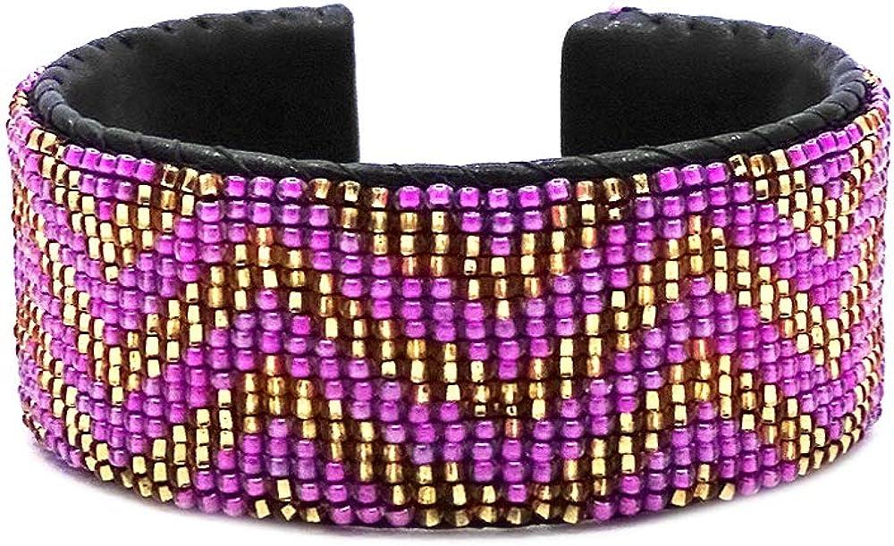Mia Jewel Shop Multicolored Geometric Pattern Guatemalan Czech Glass Seed Beaded Wide Leather Cuff Bracelet - Womens Fashion Handmade Jewelry Boho Accessories