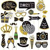 VALICLUD 20Pcs2021新年あけましておめでとうございますパーティーフォトブース小道具2021新年会用品装飾