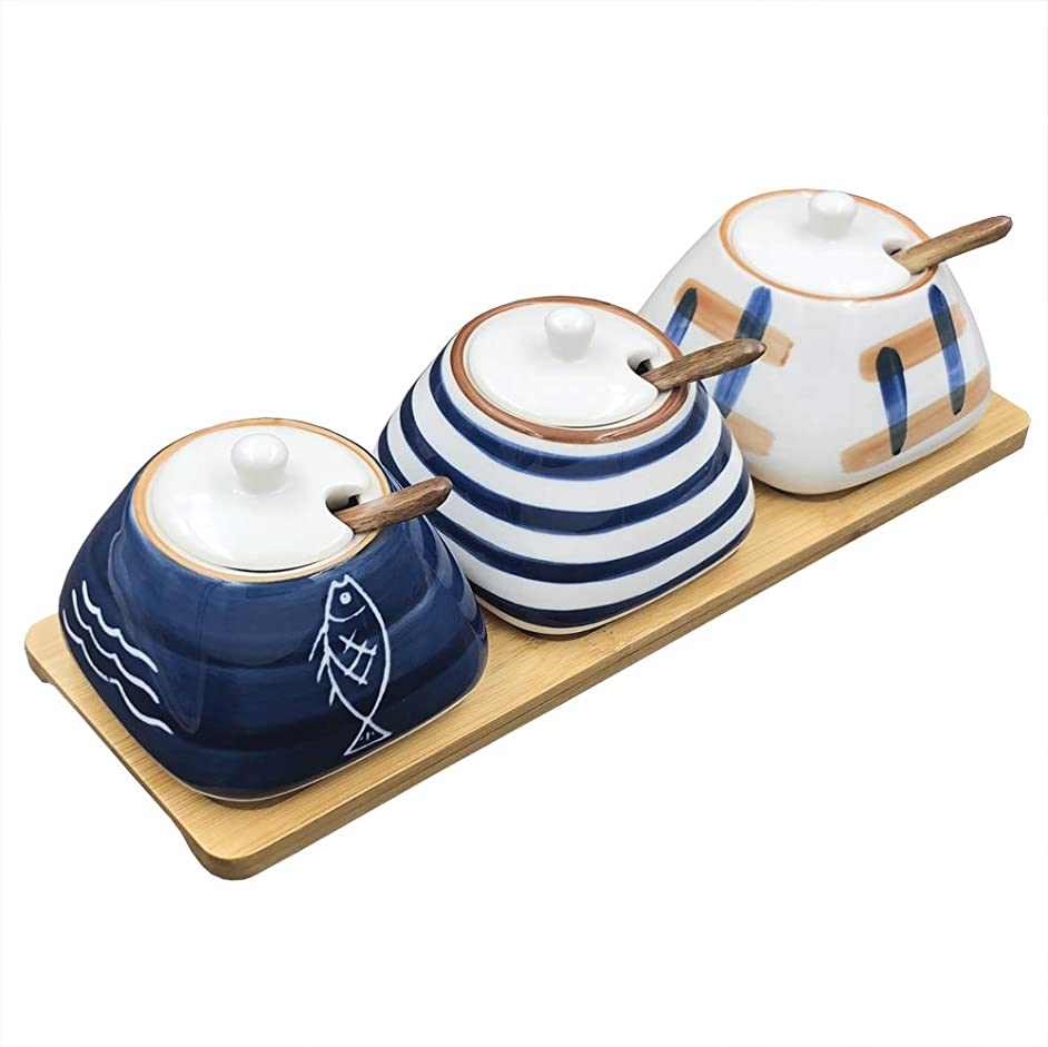 TuuTyss Set of 3 Sugar Bowl,Hand-paint Ceramic Spice Jars Sugar Container,Condiment Seasoning Box Container Pot Set with Lids,Wooden Spoon and Bamboo Tray