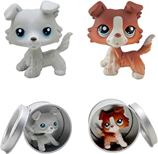 Meidexian888 2PCS Rare Littlest Pet Shop, LPS Cartoon Cute Dog Child Girl Figure Toy Loose with Box Gifts for Children