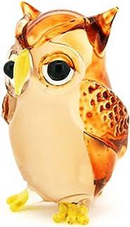 Lampwork COLLECTIBLE MINIATURE HAND BLOWN Art GLASS Single Owl Brown FIGURINE by ChangThai Design