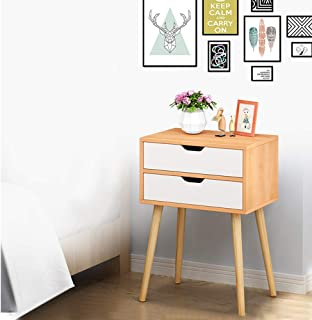 Swyss Side End Table Nightstand with 2 Drawers Storage Mid-Century Accent Wood Furniture, Dormitory Bedroom Assembly Bedside Cabinet (D 15.7x11.8x22.8)