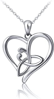 S925 Sterling Silver Good Luck Irish Celtic Knot Triangle Vintage Love Heart Pendant Necklace, 18 inches