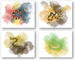 Ramini Brands Snake Art Beautiful Home Decor Prints - Set of 4 8 x 10 Unframed Prints - Beautiful Gift for Snakes Lovers - Reptile Desert Nature Lovers Illustration - Great Housewarming Gift