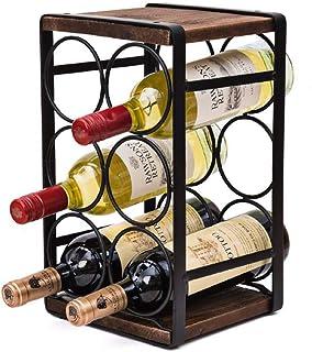 Fikujap casier à vin Vintage pour 6 Bouteilles en Bois, de 3 étages Porte-Bouteilles autoportant de Bureau, Support de Ran...