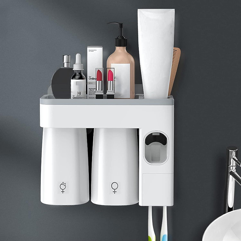 KTDT Soporte para Cepillo de Dientes Estante para cepillos de Dientes con dispensador automático de Pasta de Dientes Taza magnética Cuarto de baño Almacenamiento de Gran Capacidad Juego de Tazas