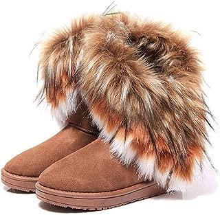 Women's Faux Fur Tassel Winter Snow Boot Suede Flat Ankle Boots