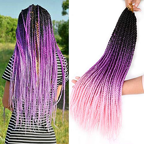 Bellqueen 3packs Senegalese Twist Hair 22 inches Purple Pink Kanekalon Ombre Braiding Hair Extensions Micro Twist Crochet Braids 20Strands/pack(Black Purple Pink,3packs)