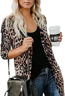 Women Casual Lightweight Long Sleeve Leopard Print Button Down Shirt Cardigan