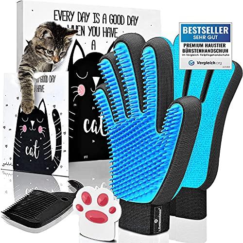 LÖWENKÖNIG® Innovativer 3in1 Premium Haustier Bürstenhandschuh [verbesserte Version 2021] Fellpflege-Handschuh I Massage-Bürste, Katzenhaare I Katzen-Zubehör + Magnet, Kamm
