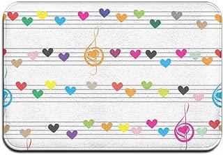 Feddiy Music Heart Clip Art Doormat Floor Mat with Non-Slip Backing Bath Mat Rug Home Decor 23.6×15.7inch