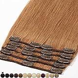 Extension a Clip Cheveux Naturel Rajout 100% Vrai Cheveux Humain Remy - Volume Moyen 8 Pcs (#08 Noisette, 33cm-80g)