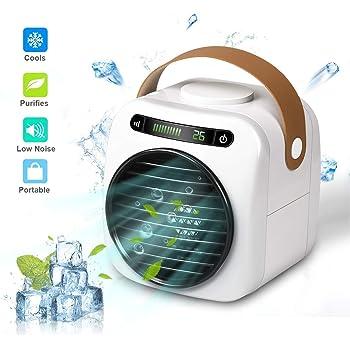 Air Cooler Mini Refrigerador de Aire, Aire Acondicionado Portátil USB 4 en 1, Purificador, Humidificador, Ventilación de 3 Niveles, con Display Digitale a LED, para el Hogar/Oficina: Amazon.es: Hogar