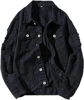 Womens Girls Cute Solid Distressed Ripped Long Sleeve Denim Jean Jacket Coat Plus Size
