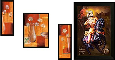 SAF Floral Up Digital Reprint (Synthetic, 35 cm X 50 cm, Set of 3, Sanfsm6681) & Shivaji 6295 Religious Up Textured Framed Painting (35 X 50 X 2 cm) Combo