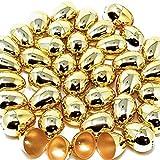 36 Uova di Pasqua in metallo dorato lucido, 3 cm di colore oro per riempire dolcetti specifici, bomboniere a tema pasquale, caccia alle uova, ripieni di cesti, forniture premio aula