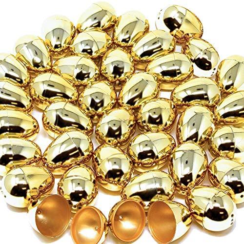 36 huevos de Pascua metálicos dorados brillantes de 3 cm en color dorado para rellenar golosinas específicas, recuerdo de fiesta de Pascua, caza de huevos, cesta de relleno, premios para el aula