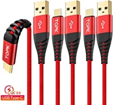 3 Pack TOPK 6.6ft USB Type C Cable