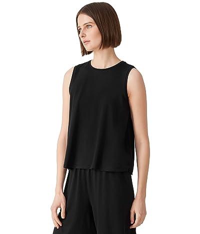 Eileen Fisher Crew Neck Short Shell in Fine Stretch Jersey Knit
