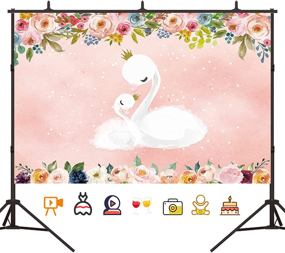 Crefelicid 5x3ft Swan Birthday Backdrop Flowers Glitter Shiny Prince Background for Baby Shower Kids Birthday Photography Party Favors Pink Girls Photo Booth Banner Supplies