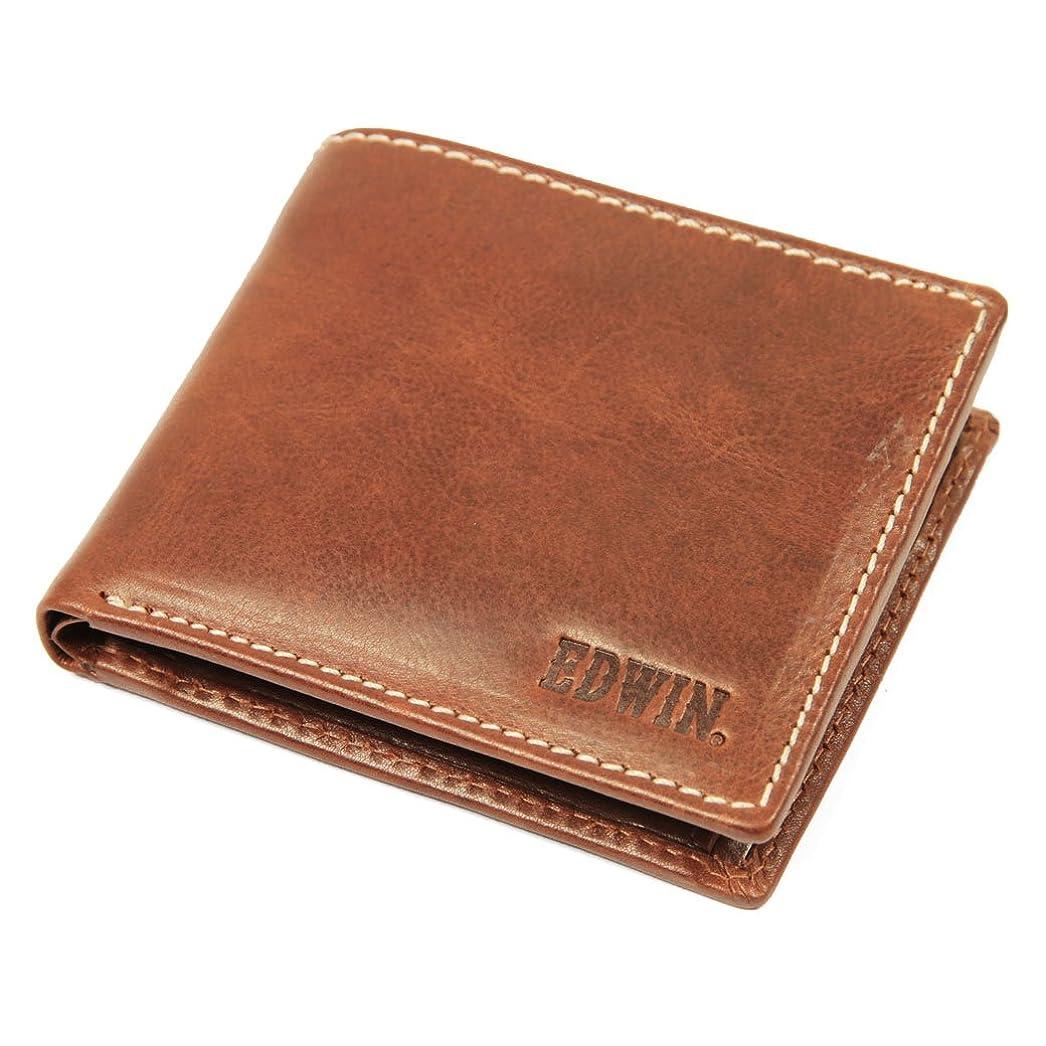 匹敵します津波とげのある二つ折り財布 メンズ EDWIN(エドウィン) 牛革