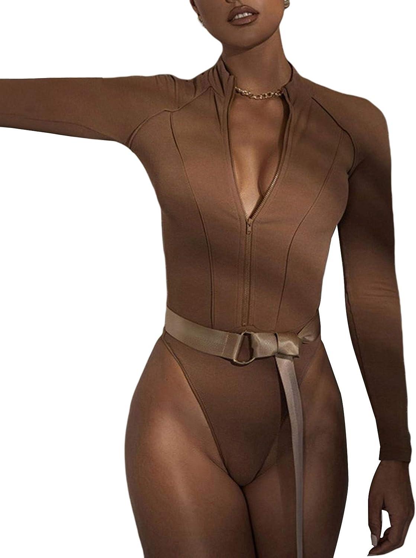 Women's Long Sleeve V Neck Bodysuit Collar Zipper Closure Sexy Slim Clothing