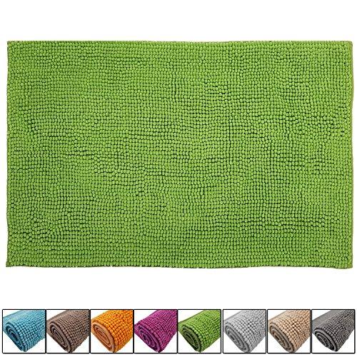 DILUMA Badematte Chenille 60x90 cm Grün Rutschfester Hochflor Badteppich Wellness Badvorleger Saugfähig und Flauschig