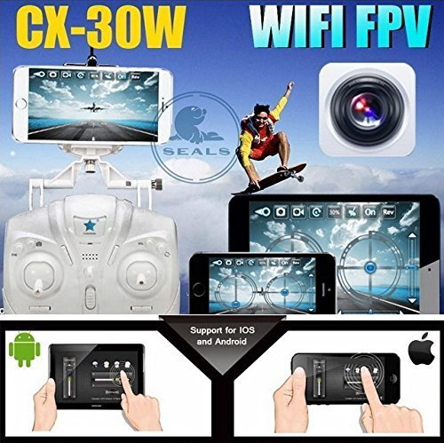 Cheerson CX-30W 2.4GHz 4CH 6-Axis Gyro 360-degree Eversion WiFi Real Time Video RC Quadcopter UFO FPV with 0.3MP HD Camera & Transmitter RTF - iPhone Transmission Control Blue