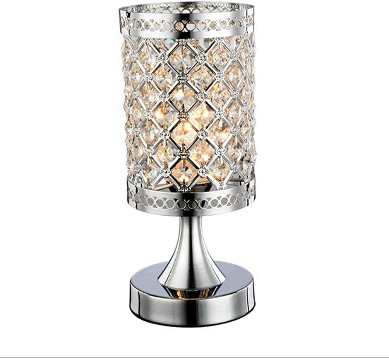 HOYSGS Kristall-Tischlampe Moderne Tischleuchte Schlafzimmer-Nachttischlampe Aus Silber, Silber