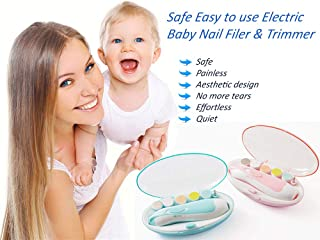 Baby Electric Nail File Tool and Trimmer for Newborn Baby's, Toddlers, Kids and Adults Nail File, Safe with LED Light Electric Baby Nail Clipper