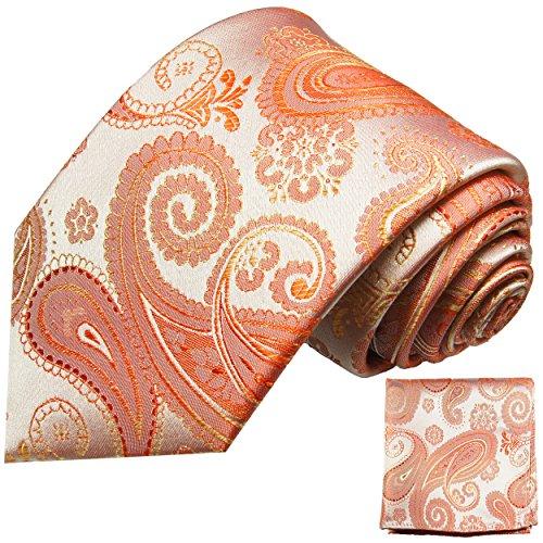 Paul Malone Koralle Rot paisley Krawatten Set 100% Seidenkrawatte + Einstecktuch