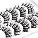 ICYCHEER 5 Pairs Mixed 3D Mink Hair False Eyelashes Natural False Eyelashes Fluffy Fake Eyelashes Dramatic Look Eyelashes Extension Makeup Long Handmade Soft Thick Lashes Resuable (78)
