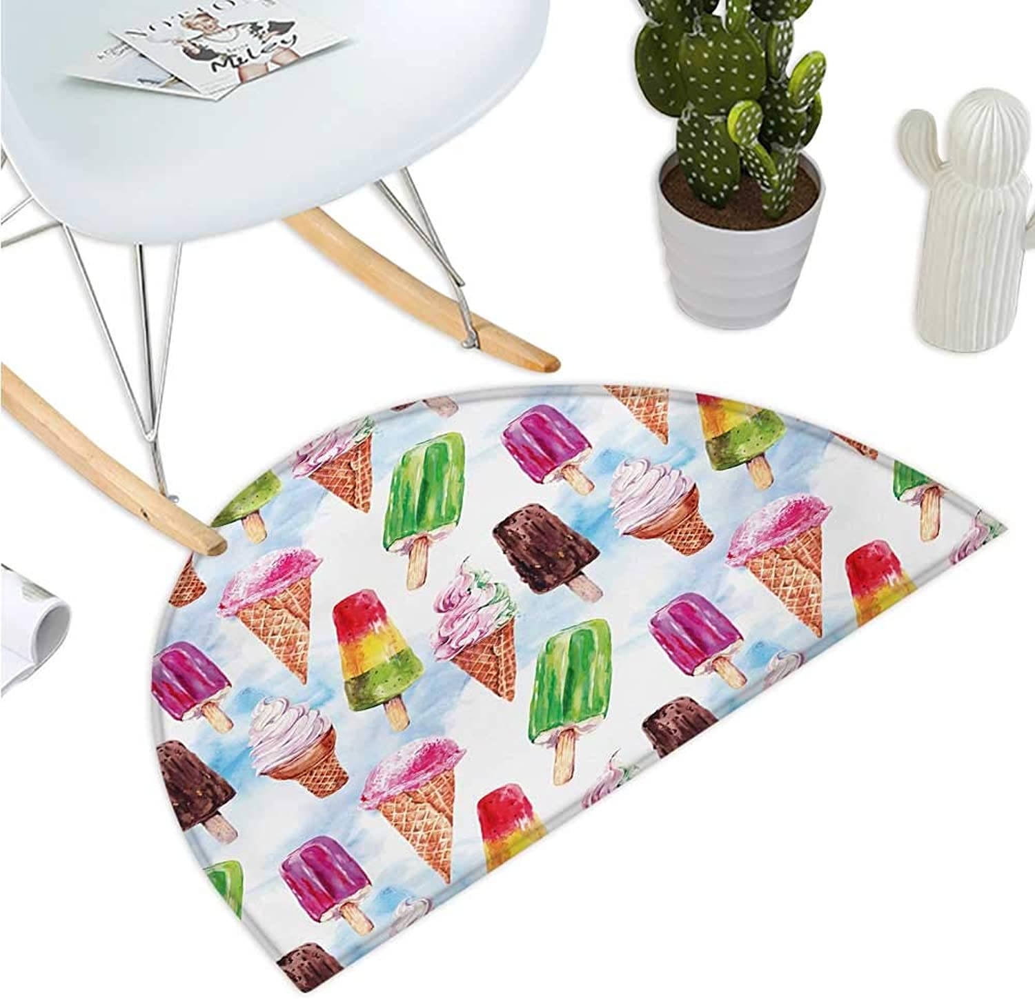 Ice Cream Semicircular Cushion Surreal Exotic Type Ice Cream Motif with Raspberry Kiwi Flavor colorful Display Entry Door Mat H 47.2  xD 70.8  Multicolor