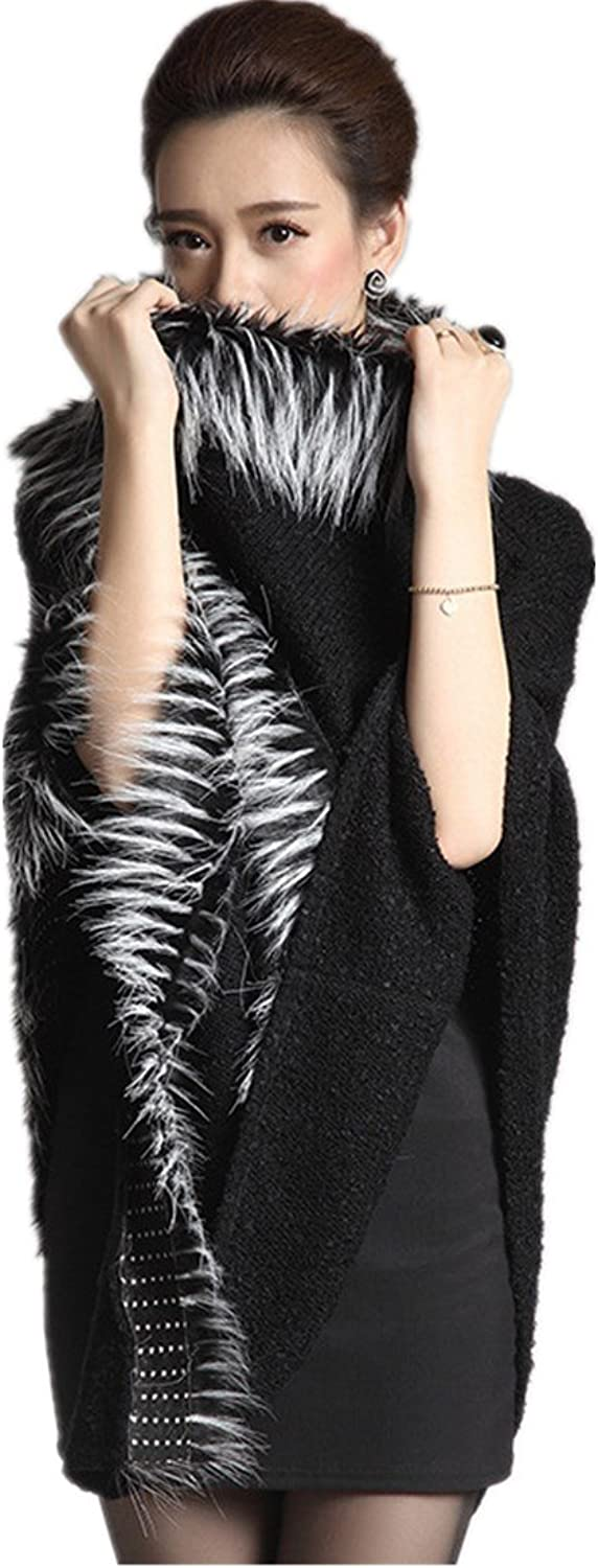 Hot Fashion Women 's Knitted Cloak Women' s Hooded Sweater Shawl