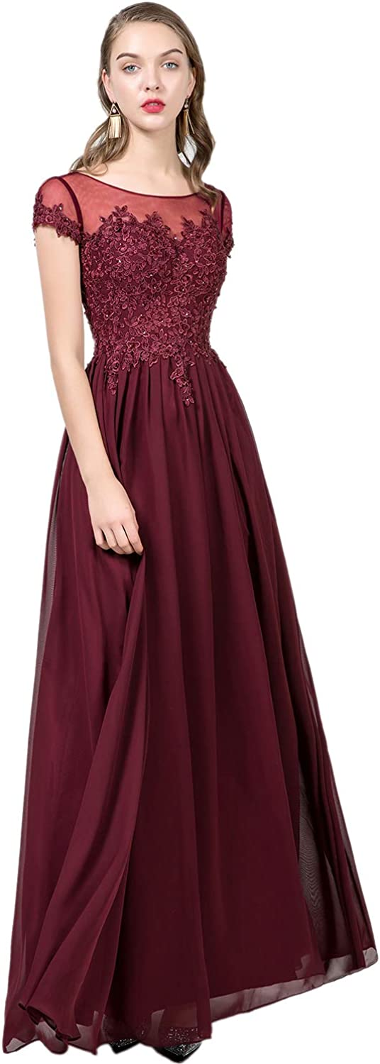 YSMei Women's Chiffon Bridesmaid Dress Lace Appliqued Long Prom Cocktail Party Gown YEV146