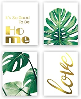 Sanrx Abstract Watercolor Tropical Leaves Print&Warm Inspirational Lettering Quote Gold Foil Print, Botanical Painting for Living Room Bedroom Home Decor (Set of 4, 8'' x 10'',Unframed)