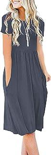 Women Summer Casual Short Sleeve Dresses Empire Waist...